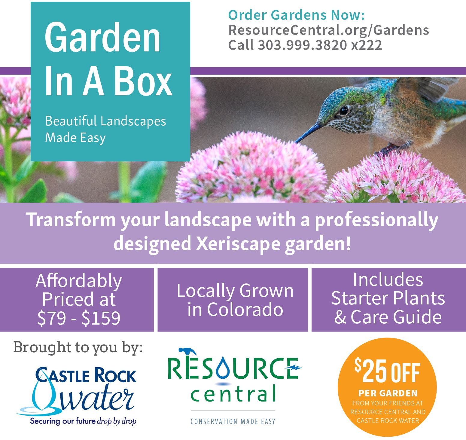 Castle Rock ad for Garden In A Box with hummingbird